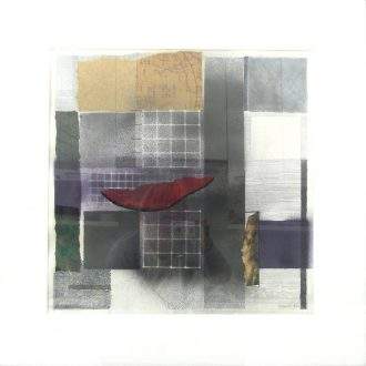 <strong>RED ALERT</strong>, mixed media 70x70cms (framed0